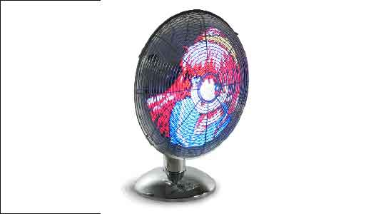 LED Art Fan displaying Manga