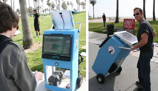 It's a cool ideas from green follower who can't stand without Wii on their live during the summer holiday. The station constructed with a big trolley, HDTV, solar panel, battery, and Wii of course. It's priced at $1,431. Read