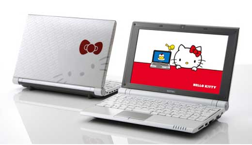 New 'Hello Kitty' netbook was launched by ONKYO in Japan with $733 of price-tag. The netbook which out from C1 families configured with Intel Atom N270 CPU, 1GB of RAM, 120GB HDD, Intel 945GSE Express chipset, and Windows XP Home Edition Operating System.