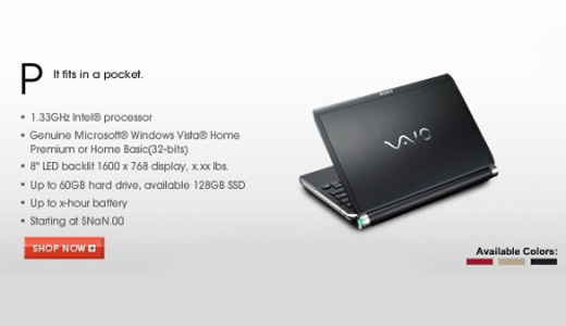 It seems Sony approaching netbook market in different way. Recently they leaked its upcoming Vaio P-series which close to netbook specification: Intel 1.33GHz Processor and 8-inch display. As we know, common netbook coming with such processor and 8.9 or 10 inch screen. But if we look in details the P-series […]