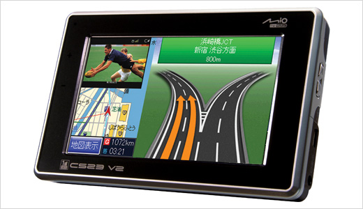 Coming with 4.3-inch touch panel LCD, the new Mitac Mio C523 V2 is released as the successor of the previous model Mio C532. Priced at around US$448, the device can be easily used by a biker. Highlights: Rider Mode, 2 Gbytes built-in flash memory and 1seg digital TV reception.