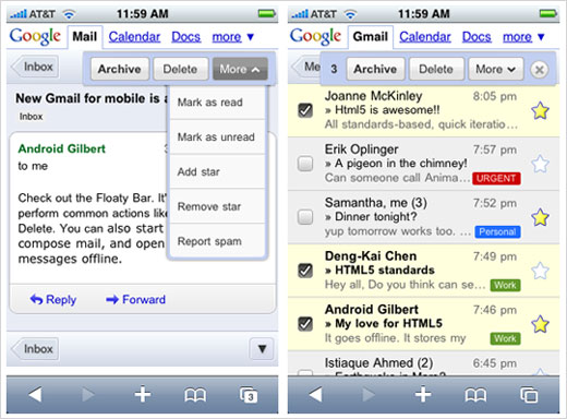 Google has upgraded its mobile Gmail to take advantage of the latest browser technology available on iPhone. You can try the new version by logging in to gmail.com from your iPhone and you will experience the new interface, faster navigation, and the availability of batch action (like archiving multiple messages […]
