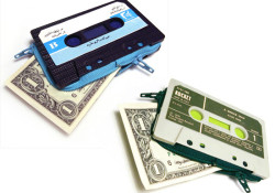 I like the idea behind these retro wallets that made from cassette tapes. Available from Marcella Foschi, Italy, this hand-made wallet priced at $39. Each design is a one-off, once its gone its gone!