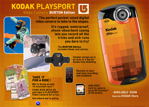 KODAK PLAYSPORT Video Camera, BURTON Edition
