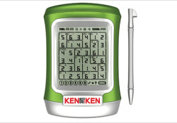 """KENKEN handheld electronic game is mentioned """"the most addictive puzzle since sudoku"""". Designed for ages eight and up, this aritmatic-based puzzle game taking the puzzle one step further and incorporating math skills, including addition, subtraction, multiplication and division."""