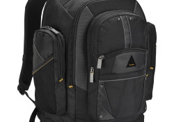 """Designed to fit laptop screens up to 16"""", the Targus Conquer 16″ Backpack features two sections including a deluxe padded laptop compartment with a dedicated, protective Tablet/eReader compartment. Constructed of durable polyester material, the backpack also features Cell Phone Pouch, Business Workspace, and Moderate Storage."""
